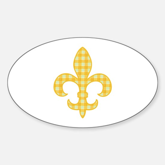 Yellow Gingham Fleur de lis Oval Decal
