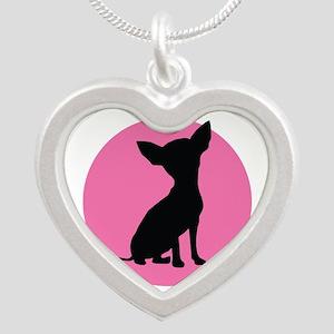 Polka Dot Chihuahua - Silver Heart Necklace