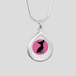 Polka Dot Chihuahua - Silver Teardrop Necklace