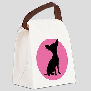 Polka Dot Chihuahua - Canvas Lunch Bag