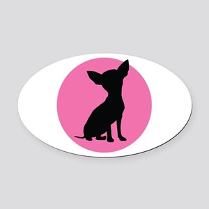 Polka Dot Chihuahua - Oval Car Magnet