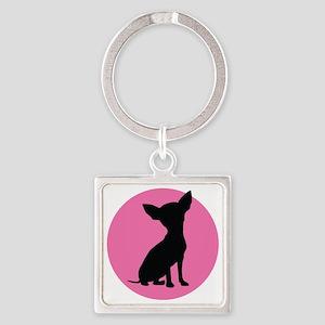 Polka Dot Chihuahua - Square Keychain