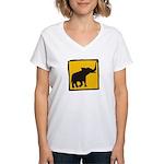 Elephant Crossing Women's V-Neck T-Shirt