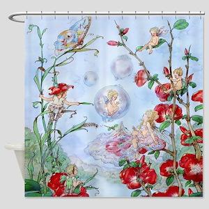 Bubble Fairies Poppies Kids Shower Curtain