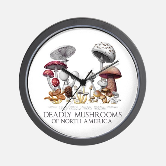 Deadly Mushrooms of North America Wall Clock