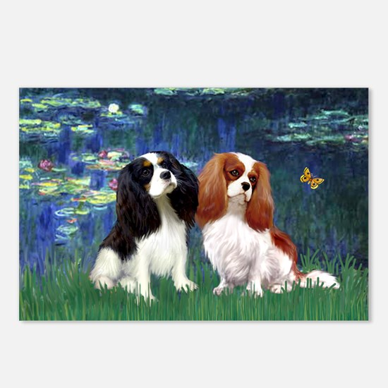 Lilies (5) & Cavalier Pair Postcards (Package of 8