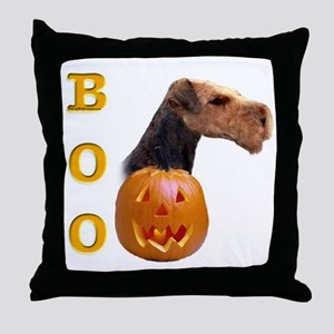 Airedale Boo Throw Pillow