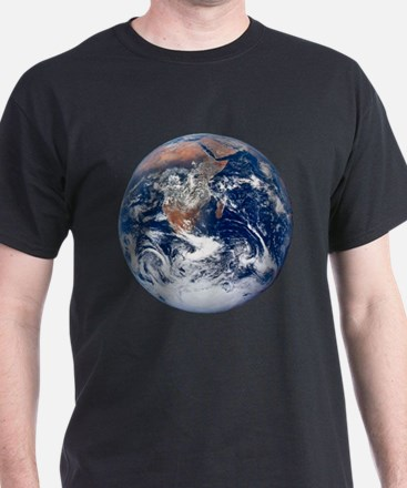 Earth From Space Black T-Shirt