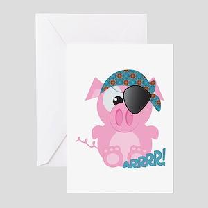 Cute Goofkins Piggy Pig Pirate Greeting Cards (Pac