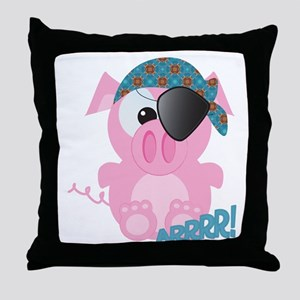 Cute Goofkins Piggy Pig Pirate Throw Pillow