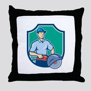 Construction Worker Concrete Saw Consaw Cartoon Th