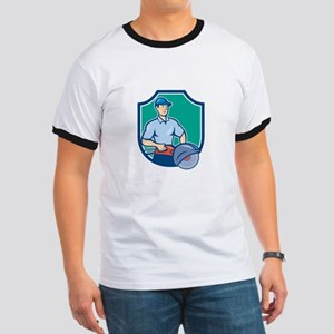 Construction Worker Concrete Saw Consaw Cartoon T-