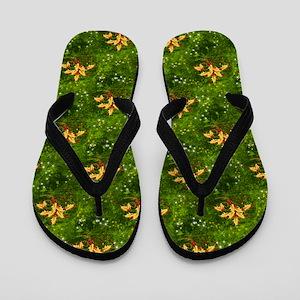 Golden Holly Christmas Flip Flops