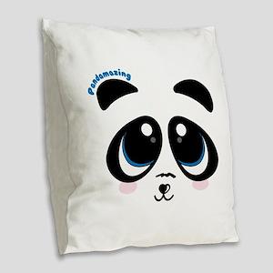 Pandamazing Burlap Throw Pillow
