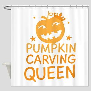 Pumpkin Carving Queen Halloween funny! Shower Curt