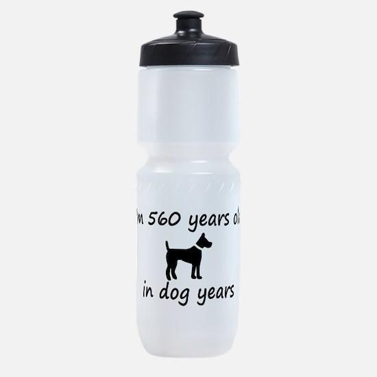 80 dog years black dog 2 Sports Bottle
