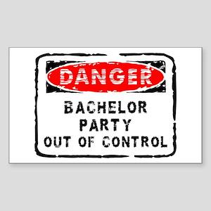 Danger Bachelor Party Rectangle Sticker