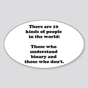 10 Kinds of People<br> Oval Sticker