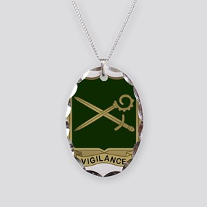 385th MP Battalion Crest Necklace Oval Charm