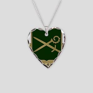 385th MP Battalion Crest Necklace Heart Charm