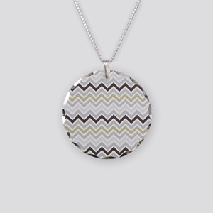 modern grey chevron pattern Necklace Circle Charm