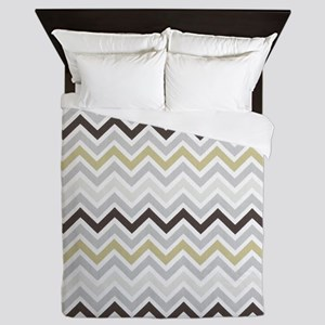 modern grey chevron pattern Queen Duvet