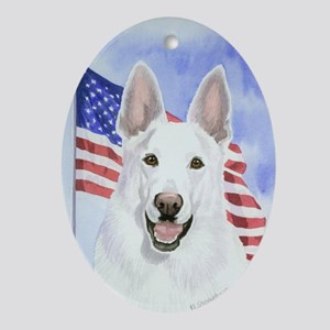 White German Shepherd Oval Ornament