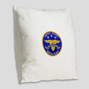 SIXTH FLEET US Navy Military P Burlap Throw Pillow