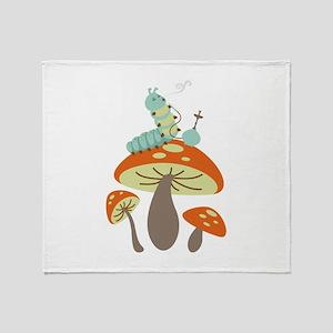 Mushroom Caterpillar Throw Blanket