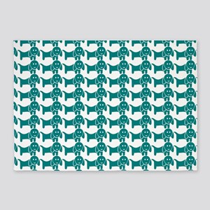 Teal and White Dachshund Wiener Dog 5'x7'Area Rug