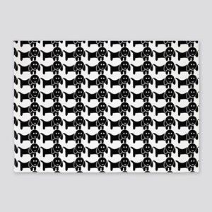 Black and White Dachshund Wiener Do 5'x7'Area Rug
