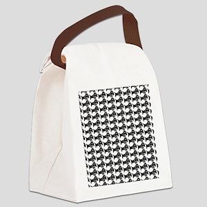 Black and White Dachshund Wiener Canvas Lunch Bag