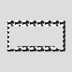 Black and White Dachshund Wie License Plate Holder
