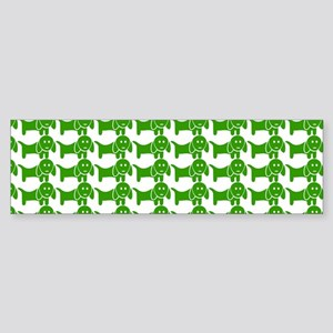 Green and White Dachshund Wiener Sticker (Bumper)