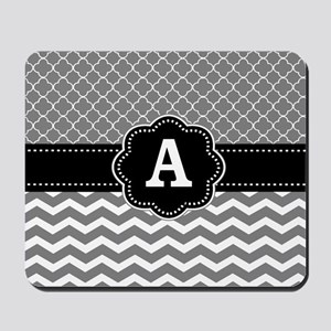 Gray Black Quatrefoil Chevron Monogram Mousepad