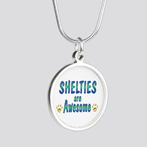 Shelties are Awesome Silver Round Necklace