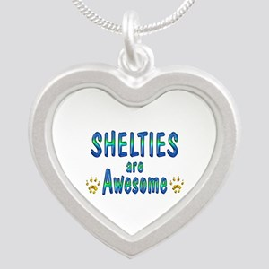 Shelties are Awesome Silver Heart Necklace