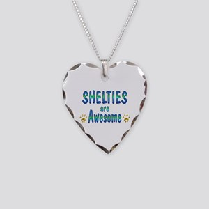 Shelties are Awesome Necklace Heart Charm
