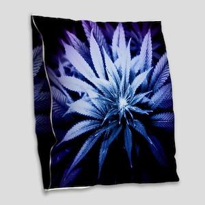 Blue Kush Burlap Throw Pillow