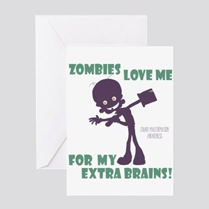 Zombies Love Me III Greeting Cards