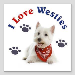 "I Love Westies 111 Square Car Magnet 3"" X 3&q"