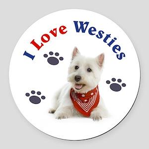 I Love Westies 111 Round Car Magnet