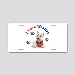 I Love Westies 111 Aluminum License Plate