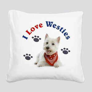 I Love Westies 111 Square Canvas Pillow