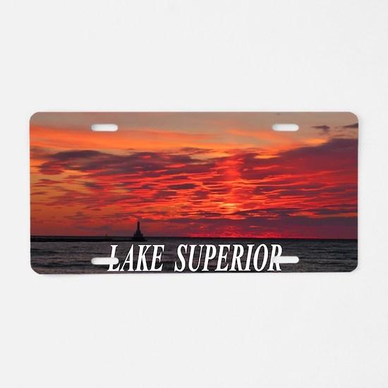 Fire Sunset Lk Superior Aluminum License Plate