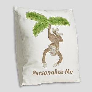 Personalized Monkey Burlap Throw Pillow