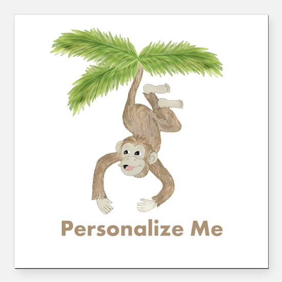 "Personalized Monkey Square Car Magnet 3"" x 3"""