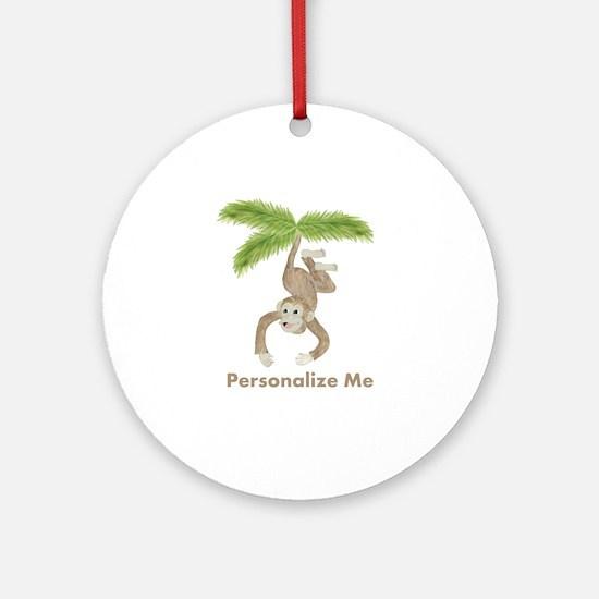Personalized Monkey Ornament (Round)