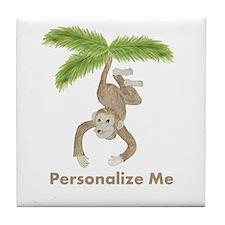 Personalized Monkey Tile Coaster