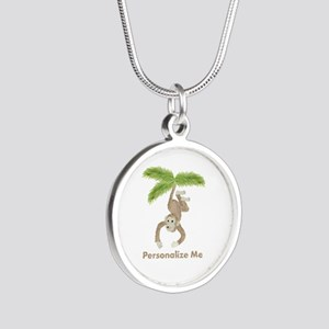 Personalized Monkey Silver Round Necklace